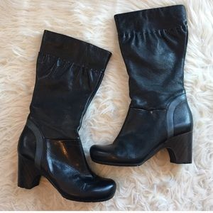 Clarks 6.5 tall heeled boot black leather